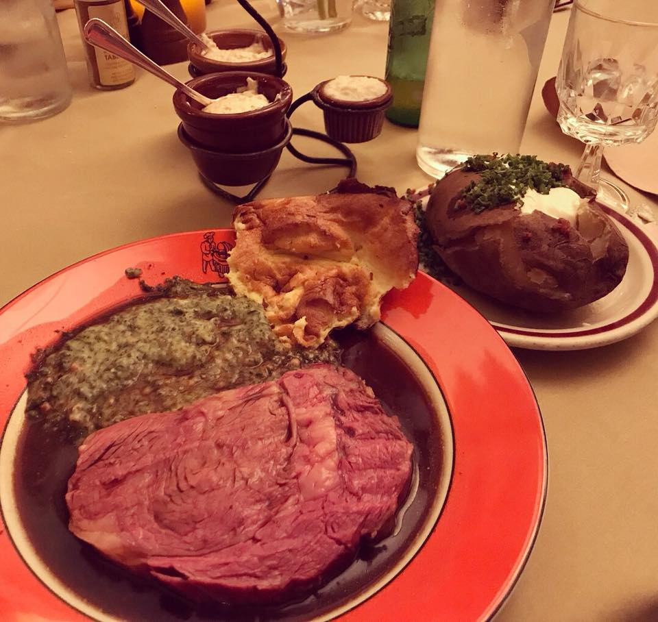 House of Prime Rib cut, creamed spinach, Yorkshire pudding, baked potato