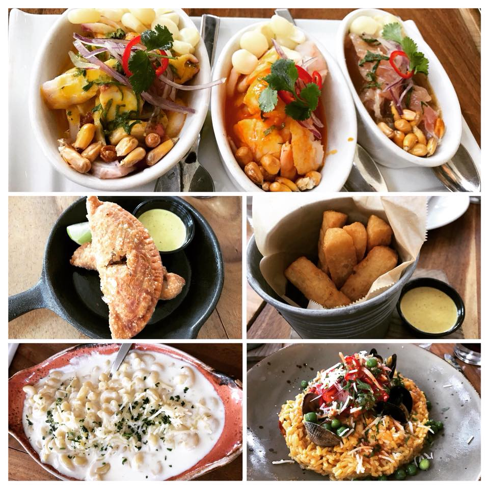 Ceviche, empandas, yuca fries, mac & cheese, and arroz con mariscos from Limon Rotisserie (Burlingame)
