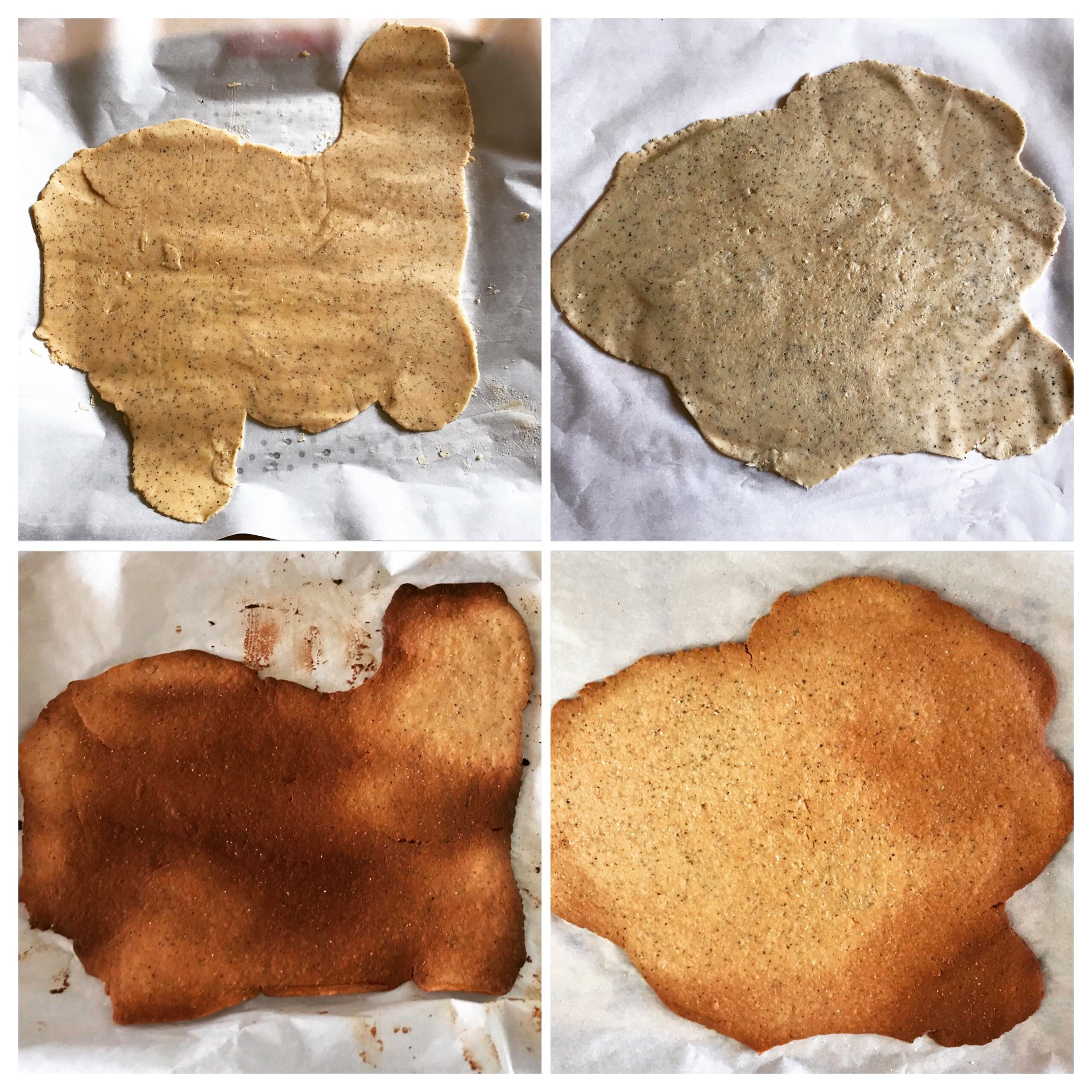 Cracker sheets before & after baking