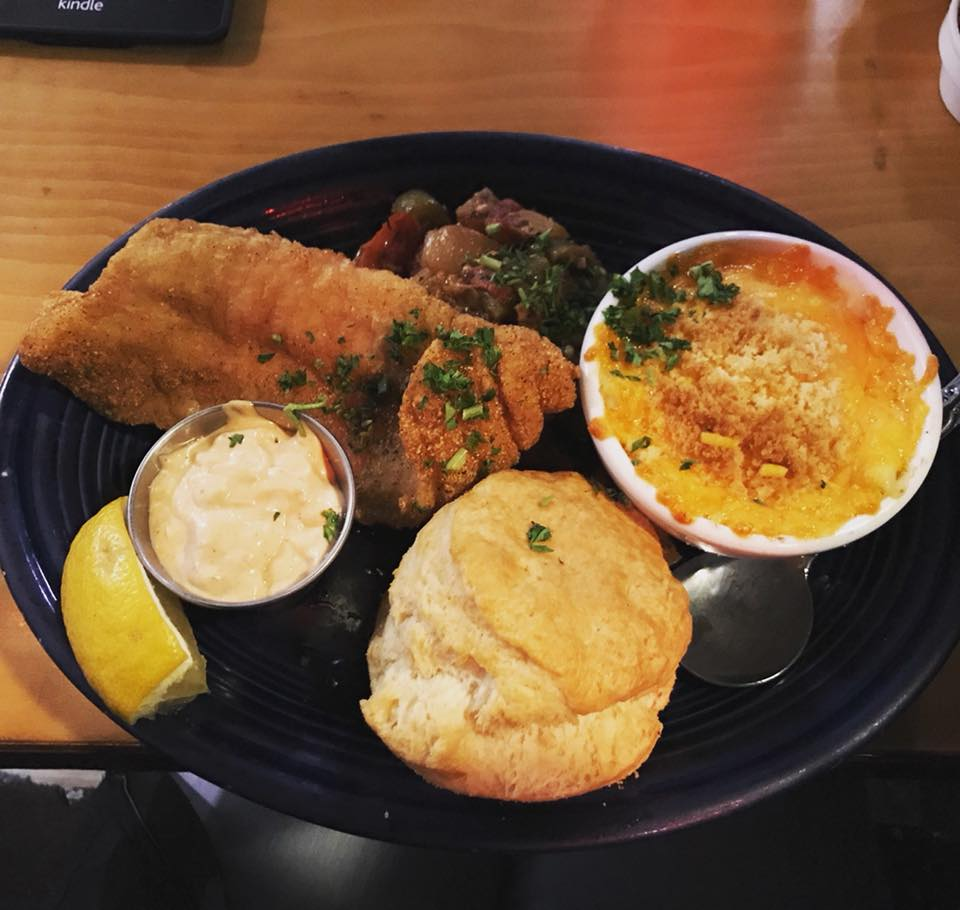 Fried catfish, mac & cheese, biscuit, and okra & tomato maque choux