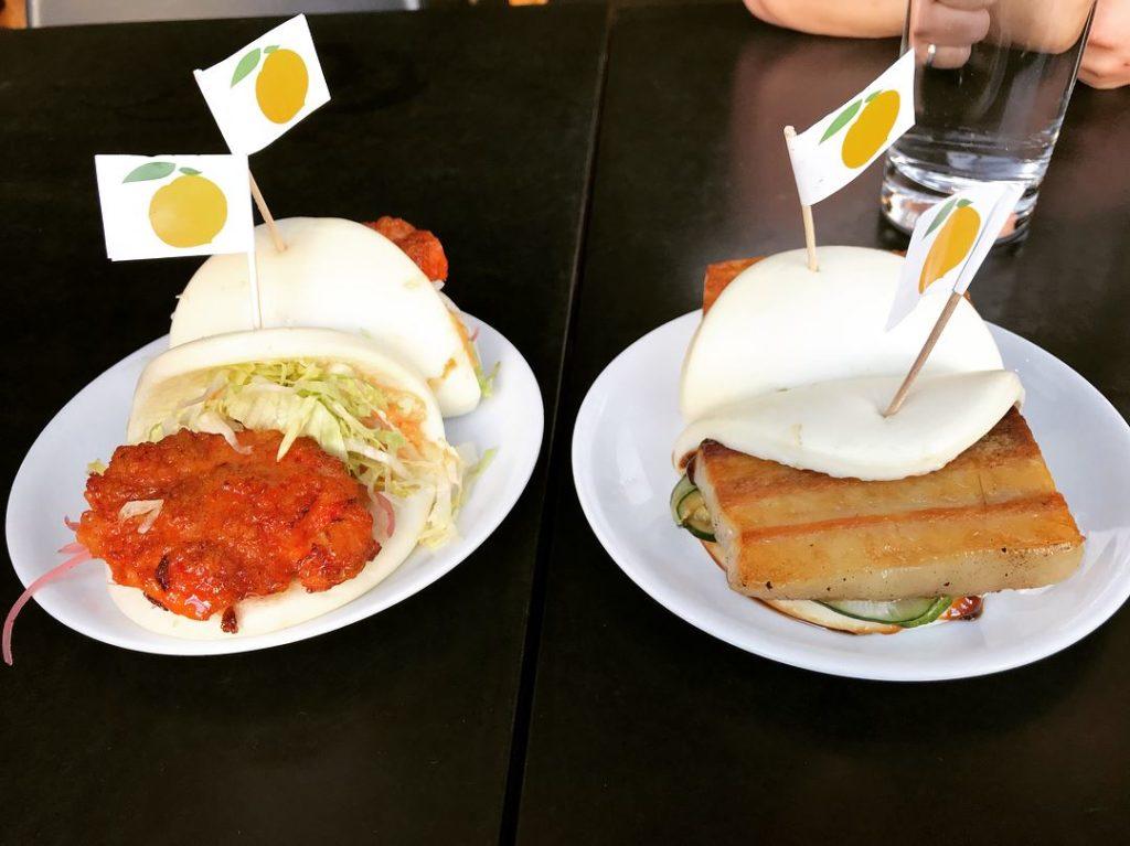 Shrimp & pork belly buns